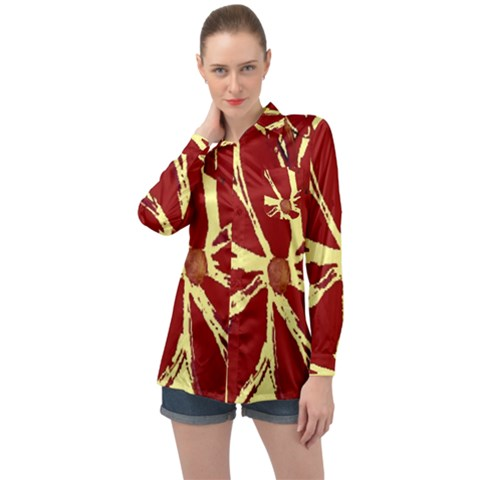Flowery Fire Long Sleeve Satin Shirt by Janetaudreywilson