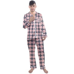 Retro Pink And Grey Pattern Men s Long Sleeve Satin Pyjamas Set by MooMoosMumma