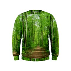 In The Forest The Fullness Of Spring, Green, Kids  Sweatshirt by MartinsMysteriousPhotographerShop