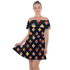 Geometric Diamond Tile Off Shoulder Velour Dress by tmsartbazaar