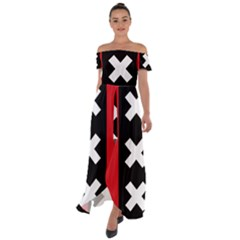 Vertical Amsterdam Flag Off Shoulder Open Front Chiffon Dress by abbeyz71