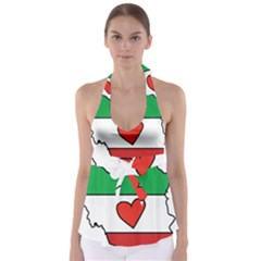 Heart Flag Map Of Iran  Babydoll Tankini Top by abbeyz71