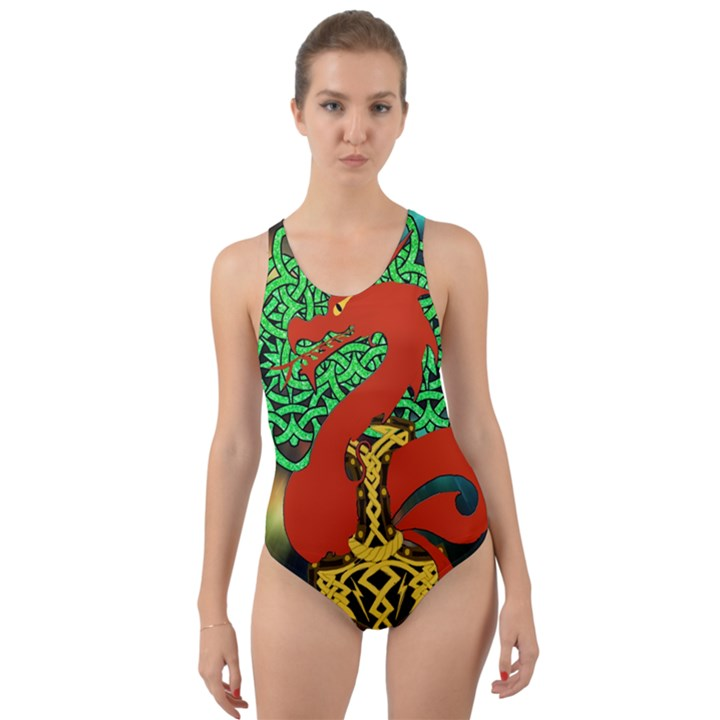 Ragnarok Dragon Monster Cut-Out Back One Piece Swimsuit