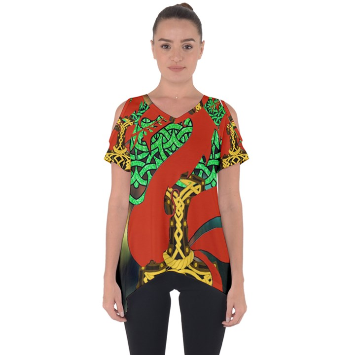 Ragnarok Dragon Monster Cut Out Side Drop Tee