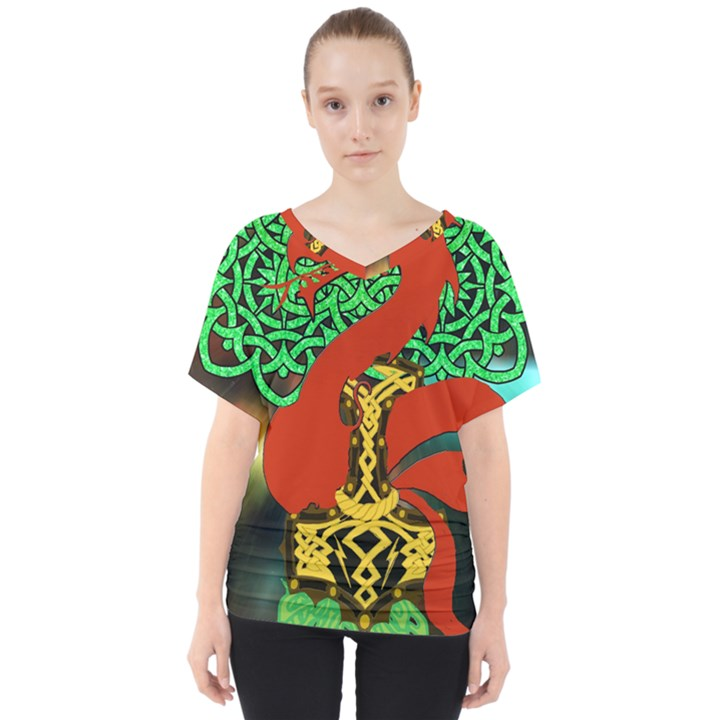 Ragnarok Dragon Monster V-Neck Dolman Drape Top