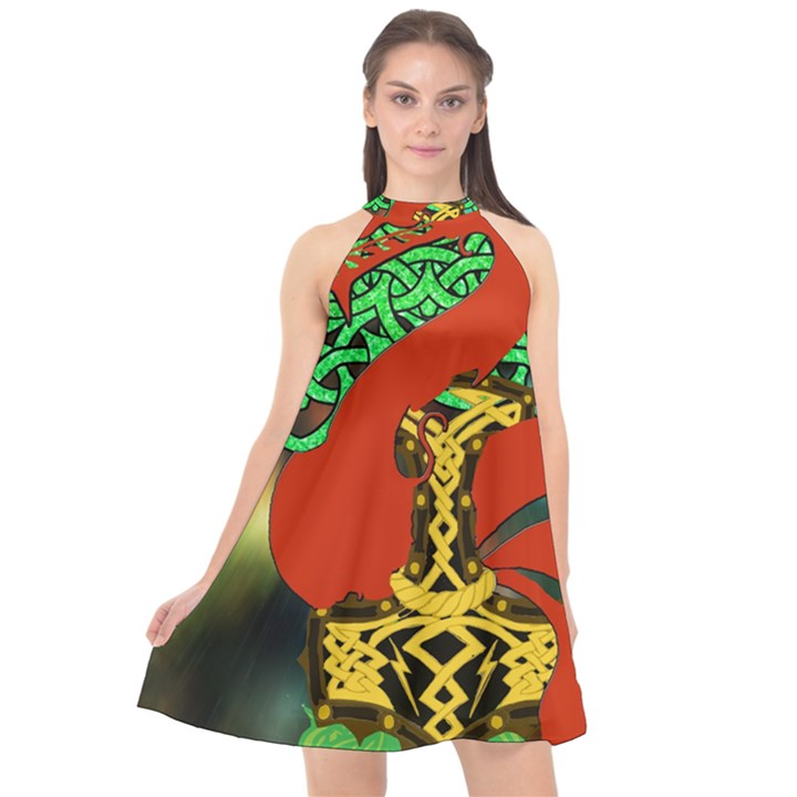 Ragnarok Dragon Monster Halter Neckline Chiffon Dress