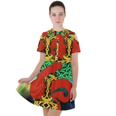 Ragnarok Dragon Monster Short Sleeve Shoulder Cut Out Dress