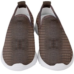 Brown Alligator Leather Skin Kids  Slip On Sneakers by LoolyElzayat