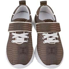 Brown Alligator Leather Skin Kids  Velcro Strap Shoes by LoolyElzayat