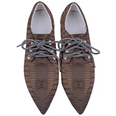 Brown Alligator Leather Skin Pointed Oxford Shoes by LoolyElzayat