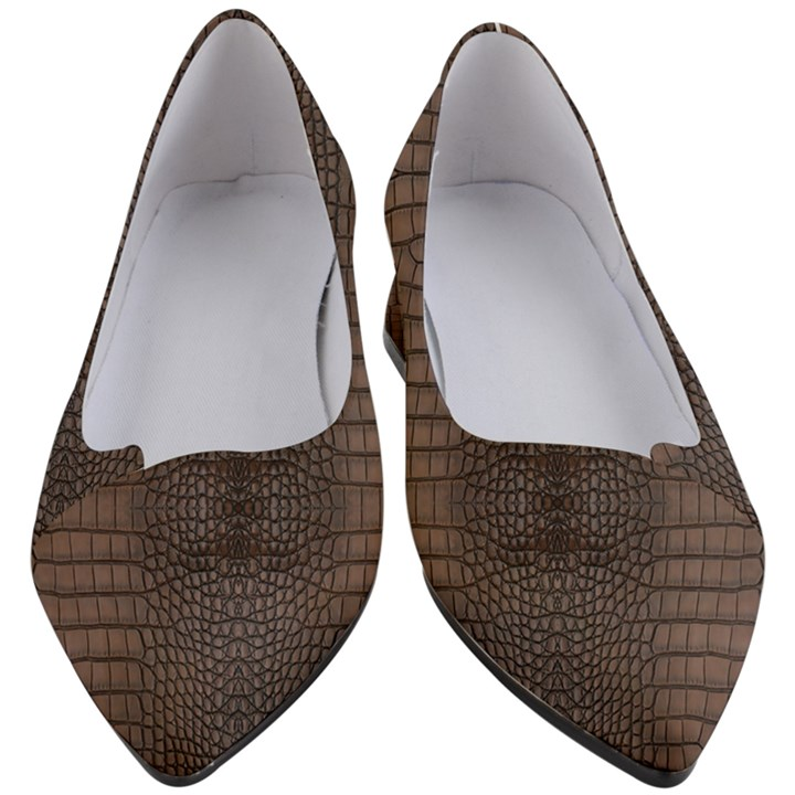 Brown Alligator Leather Skin Women s Block Heels