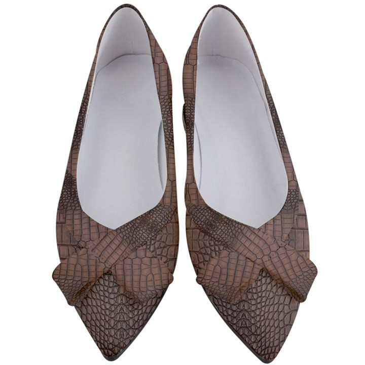 Brown Alligator Leather Skin Women s Bow Heels