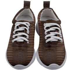 Brown Alligator Leather Skin Kids Athletic Shoes by LoolyElzayat