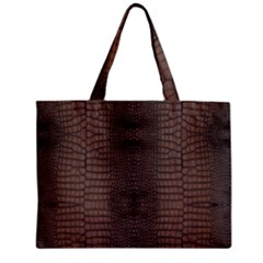 Brown Alligator Leather Skin Mini Tote Bag by LoolyElzayat