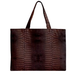 Brown Alligator Leather Skin Zipper Mini Tote Bag by LoolyElzayat