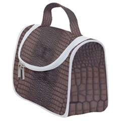 Brown Alligator Leather Skin Satchel Handbag by LoolyElzayat