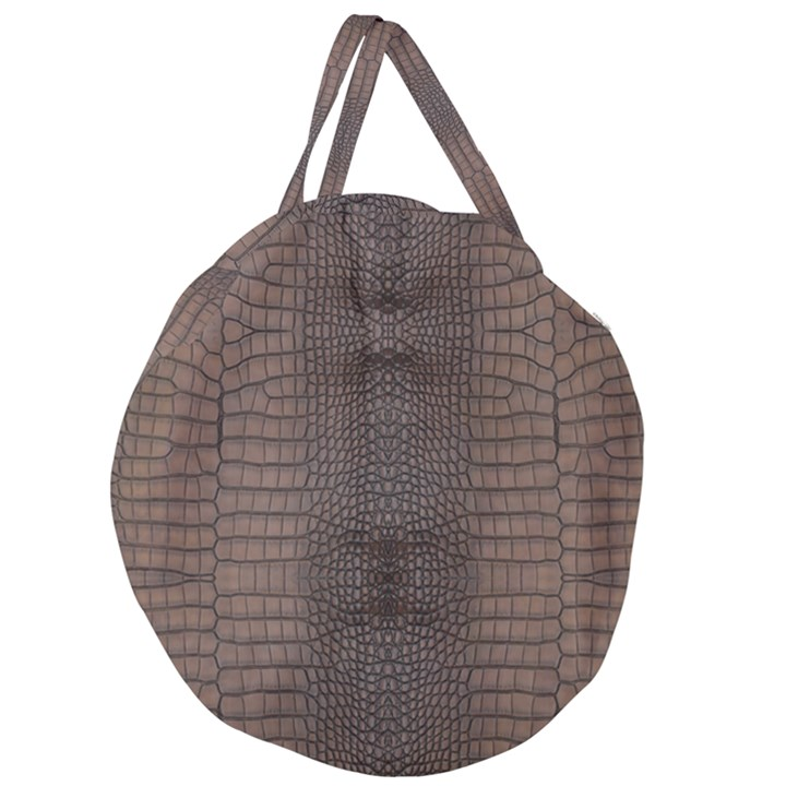 Brown Alligator Leather Skin Giant Round Zipper Tote