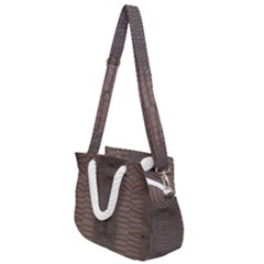 Brown Alligator Leather Skin Rope Handles Shoulder Strap Bag by LoolyElzayat