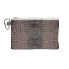Brown Alligator Leather Skin Canvas Cosmetic Bag (medium)