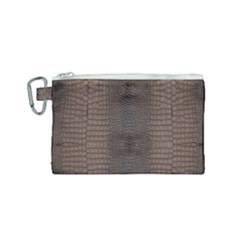 Brown Alligator Leather Skin Canvas Cosmetic Bag (small) by LoolyElzayat