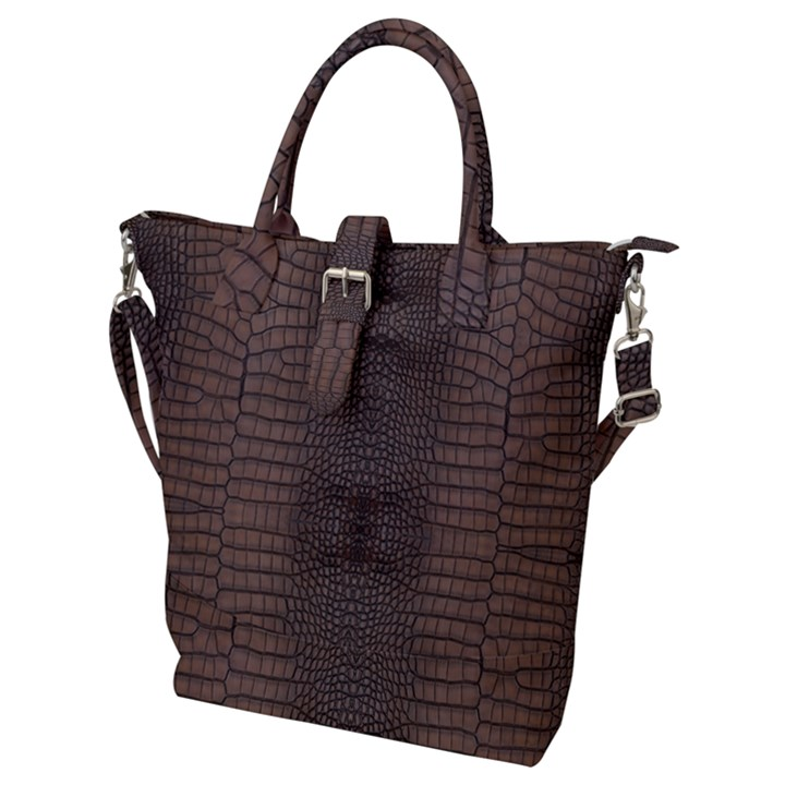 Brown Alligator Leather Skin Buckle Top Tote Bag