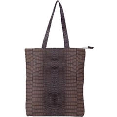 Brown Alligator Leather Skin Double Zip Up Tote Bag by LoolyElzayat