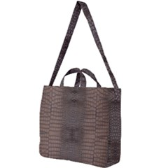 Brown Alligator Leather Skin Square Shoulder Tote Bag by LoolyElzayat