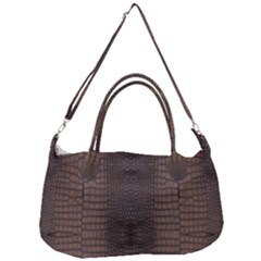 Brown Alligator Leather Skin Removal Strap Handbag by LoolyElzayat