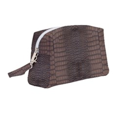 Brown Alligator Leather Skin Wristlet Pouch Bag (medium) by LoolyElzayat