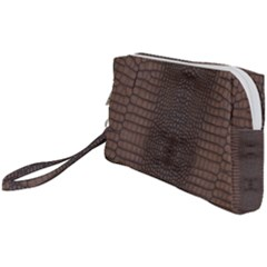 Brown Alligator Leather Skin Wristlet Pouch Bag (small) by LoolyElzayat