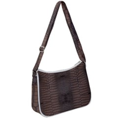 Brown Alligator Leather Skin Zip Up Shoulder Bag by LoolyElzayat
