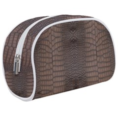 Brown Alligator Leather Skin Makeup Case (medium) by LoolyElzayat