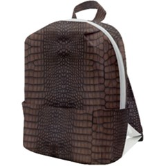 Brown Alligator Leather Skin Zip Up Backpack by LoolyElzayat