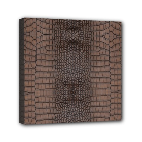Brown Alligator Leather Skin Mini Canvas 6  X 6  (stretched)