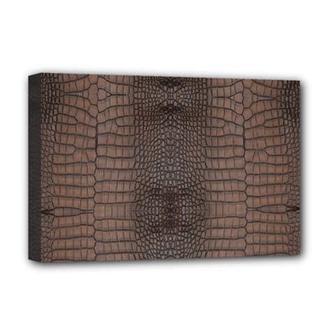 Brown Alligator Leather Skin Deluxe Canvas 18  X 12  (stretched) by LoolyElzayat