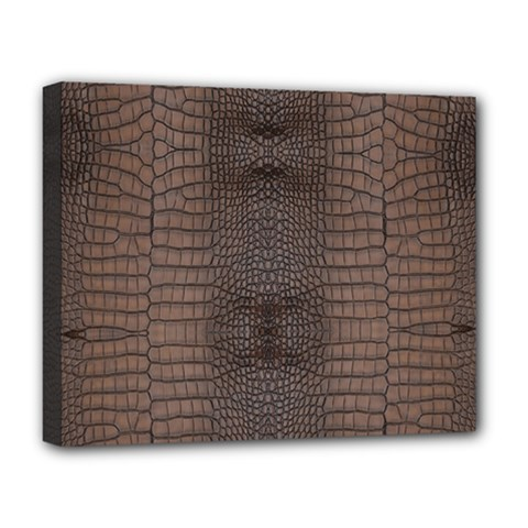 Brown Alligator Leather Skin Deluxe Canvas 20  X 16  (stretched) by LoolyElzayat