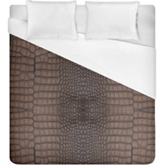 Brown Alligator Leather Skin Duvet Cover (king Size) by LoolyElzayat