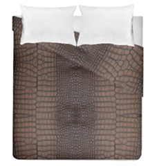Brown Alligator Leather Skin Duvet Cover Double Side (queen Size) by LoolyElzayat
