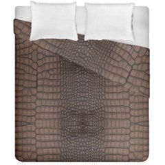 Brown Alligator Leather Skin Duvet Cover Double Side (california King Size) by LoolyElzayat