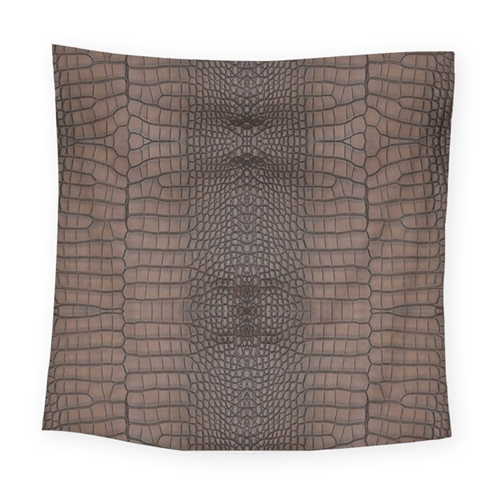 Brown Alligator Leather Skin Square Tapestry (Large)