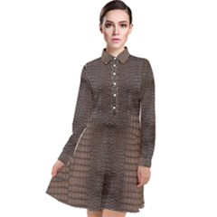 Brown Alligator Leather Skin Long Sleeve Chiffon Shirt Dress by LoolyElzayat