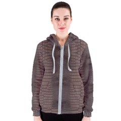 Brown Alligator Leather Skin Women s Zipper Hoodie by LoolyElzayat