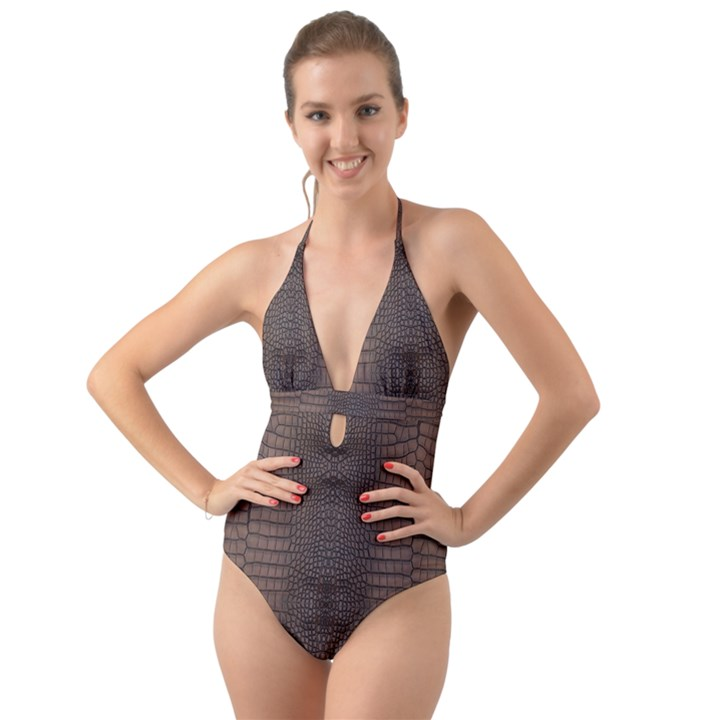 Brown Alligator Leather Skin Halter Cut-Out One Piece Swimsuit