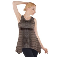 Brown Alligator Leather Skin Side Drop Tank Tunic by LoolyElzayat