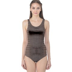 Brown Alligator Leather Skin One Piece Swimsuit by LoolyElzayat