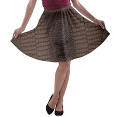 Brown Alligator Leather Skin A-line Skater Skirt by LoolyElzayat