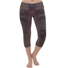 Brown Alligator Leather Skin Capri Yoga Leggings by LoolyElzayat
