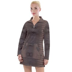 Brown Alligator Leather Skin Women s Long Sleeve Casual Dress by LoolyElzayat