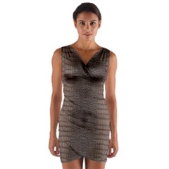 Brown Alligator Leather Skin Wrap Front Bodycon Dress by LoolyElzayat