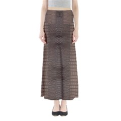 Brown Alligator Leather Skin Full Length Maxi Skirt by LoolyElzayat